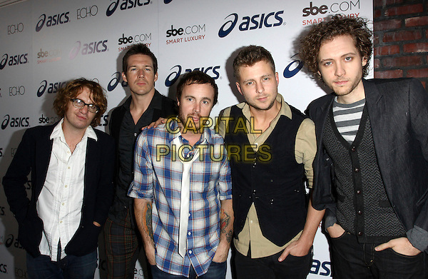 ONE REPUBLIC - Drew Brown, Brent Kutzle, Eddie Fisher, Ryan Tedder, and Zach Filkins .Attending The ASICS Celebration for Leona Lewis' Album, held At Hyde Lounge, West Hollywood, California, USA, 17th November 2009..half length band group blue plaid shirt black waistcoat green cardigan white tie beard facial hair jacket striped .CAP/ADM/KB.©Kevan Brooks/AdMedia/Capital Pictures.