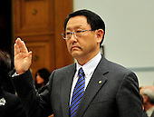 Washington, D.C. - February 24, 2010 --  Akio Toyoda, President and CEO, Toyota Motor Corporation, is sworn-in to testify before the U.S. House Committee on Government and Reform examining the Federal government's response to the recall of millions of Toyota vehicles due to reports of malfunctioning gas pedals, and to gain a better understanding of the nature of the sudden acceleration problem in Toyota vehicles and what should be done about it..Credit: Ron Sachs / CNP.(RESTRICTION: NO New York or New Jersey Newspapers or newspapers within a 75 mile radius of New York City)