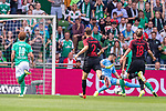 01.09.2019, wohninvest Weserstadion, Bremen, GER, 1.FBL, Werder Bremen vs FC Augsburg, <br /> <br /> DFL REGULATIONS PROHIBIT ANY USE OF PHOTOGRAPHS AS IMAGE SEQUENCES AND/OR QUASI-VIDEO.<br /> <br />  im Bild<br /> <br /> 1:0 durch Yuya Osako (Werder Bremen #08) gegen Tin Jedvaj (FC Augsburg #18) und Tomáš Koubek / Tomas (FC Augsburg #21)<br /> <br /> Foto © nordphoto / Kokenge