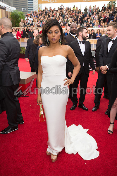 "Taraji Henson, Golden Globe Nominee for BEST PERFORMANCE BY AN ACTRESS IN A TELEVISION SERIES - DRAMA for ""Empire"", arrives at the 73rd Annual Golden Globe Awards at the Beverly Hilton in Beverly Hills, CA on Sunday, January 10, 2016. Photo Credit: HFPA/AdMedia"