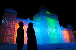 A couple looks at an ice sculpture depicting a European building during the Sapporo Snow and Ice Festival in Sapporo City, northern Japan. Around 2 million people visit the city to see the hundreds of hand-crafted snow and ice sculptures that have graced the Sapporo Snow and Ice Festival since its inception in 1950.