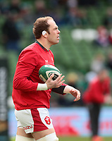 8th February 2020; Aviva Stadium, Dublin, Leinster, Ireland; International Six Nations Rugby, Ireland versus Wales; Alun Wyn Jones (Captain Wales) warms up before the game