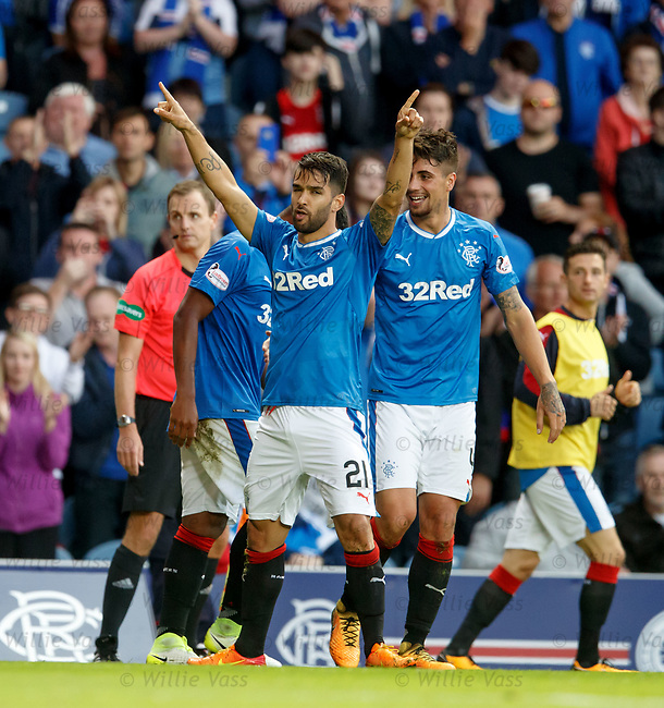 Daniel Candeias scores goal no 5 and celebrates