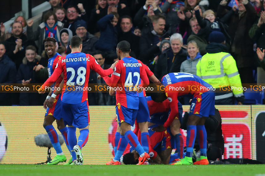 Patrick van Aanholt of Crystal Palace scores and celebrates during Crystal Palace vs Middlesbrough, Premier League Football at Selhurst Park on 25th February 2017