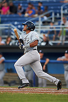 Staten Island Yankees center fielder Timmy Robinson (28) at bat during a game against the Batavia Muckdogs on August 26, 2016 at Dwyer Stadium in Batavia, New York.  Staten Island defeated Batavia 6-2.  (Mike Janes/Four Seam Images)