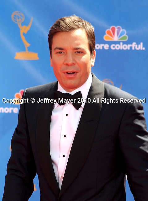 LOS ANGELES, CA. - August 29: Host Jimmy Fallon arrives at the 62nd Annual Primetime Emmy Awards held at the Nokia Theatre L.A. Live on August 29, 2010 in Los Angeles, California.