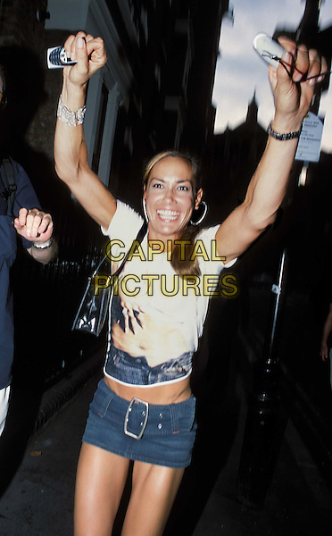 TARA PALMER TOMKINSON.The Man Who Sued God premiere Afterparty at The Arts Club, Dover St.www.capitalpictures.com.sales@capitalpictures.com.© Capital Pictures.denim micro mini skirt..half length, half-length