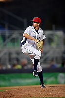 Binghamton Rumble Ponies relief pitcher Daniel Zamora (30) delivers a pitch during a game against the Erie SeaWolves on May 14, 2018 at NYSEG Stadium in Binghamton, New York.  Binghamton defeated Erie 6-5.  (Mike Janes/Four Seam Images)