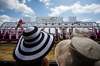 BALTIMORE, MD - MAY 19: Two ladies look at the starting gate on Black-Eyed Susan Day at Pimlico Race Course on May 19, 2017 in Baltimore, Maryland.(Photo by Douglas DeFelice/Eclipse Sportswire/Getty Images)