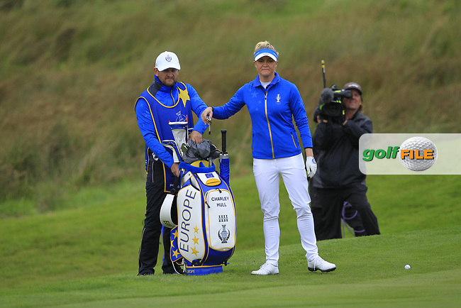 Charley Hull (EUR) on the 1st during Day 3 Singles at the Solheim Cup 2019, Gleneagles Golf CLub, Auchterarder, Perthshire, Scotland. 15/09/2019.<br /> Picture Thos Caffrey / Golffile.ie<br /> <br /> All photo usage must carry mandatory copyright credit (© Golffile | Thos Caffrey)
