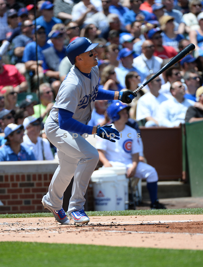 Los Angeles Dodgers Trayce Thompson (21) during a game against the Chicago Cubs on June 2, 2016 at Wrigley Field in Chicago, IL. The Cubs beat the Dodgers 7-2.