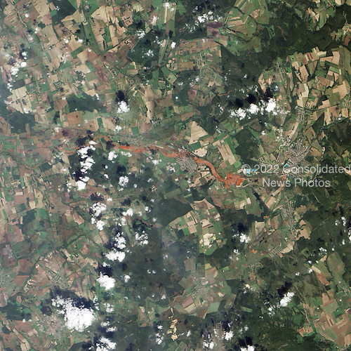 On October 4, 2010, an accident occurred at the Ajkai Timföldgyar alumina (aluminum oxide) plant in western Hungary, when a corner wall of a waste-retaining pond broke, releasing a torrent of toxic red sludge down a local stream. Several nearby towns were inundated, including Kolontar and Devecser, where the sludge was up to 6.5 feet deep in places. Four people were killed immediately, several more were missing and dozens of residents were hospitalized for chemical burns. On October 9, 2010, the Advanced Land Imager on the National Aeronautics and Space Administration's (NASA) Earth Observing-1 satellite captured this natural-color image of the area..Credit: NASA via CNP