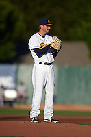 Burlington Bees pitcher Michael Bolaski (23) gets ready to deliver a pitch during a game against the Clinton LumberKings on August 20, 2015 at Community Field in Burlington, Iowa.  Burlington defeated Clinton 3-2.  (Mike Janes/Four Seam Images)