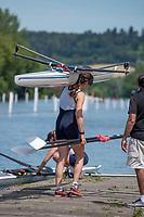 "Henley on Thames, United Kingdom, 24th June 2018, Sunday, ""Henley Women's Regatta"", view, ""Championship Women's Single Sculler"", Cara Grzeskowiak, Capital Lakes, AUS, - Henley Reach, River Thames, Thames Valley, England, © Peter SPURRIER 24/06/2018"
