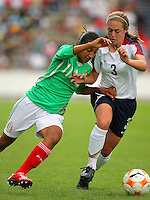 22 June 2008:  Action photo of Megan Klingenberg of USA (R) and Sandra Mayor of Mexico (L), during game of the  Campeonato Femenil Sub 20 held at Puebla./Foto de accion de Megan Klingenberg de Estados Unidos (D) y Sandra Mayor de Mexico (I), durante juego del Campeonato Femenil Sub 20 celebrado en Puebla. MEXSPORT/OMAR MARTINEZ