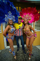A fan poses with entertainers before the FIFA Under-20 Football World Cup Final between Brazil (gold) and Serbia at North Harbour Stadium, Albany, New Zealand on Saturday, 20 June 2015. Photo: Dave Lintott / lintottphoto.co.nz