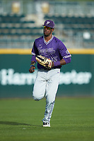 Furman Paladins center fielder Sterling Turmon (35) jogs off the field between innings of the game against the Wake Forest Demon Deacons at BB&T BallPark on March 2, 2019 in Charlotte, North Carolina. The Demon Deacons defeated the Paladins 13-7. (Brian Westerholt/Four Seam Images)
