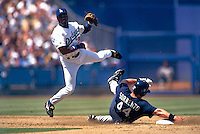 Eric Young of the Los Angeles Dodgers during a game at Dodger Stadium in Los Angeles, California during the 1997 season.(Larry Goren/Four Seam Images)