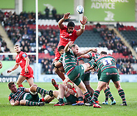 27th October 2019; Welford Road Stadium, Leicester, East Midlands, England; English Premiership Rugby, Tigers versus Saracens; Sam Harrison of Tigers puts in a clearance kick   - Editorial Use