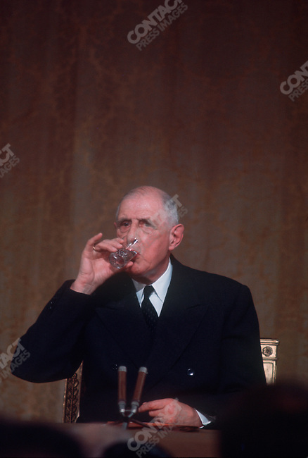 French President Charles de Gaulle, press conference at Elysee Palace, Paris, France, September 9, 1968