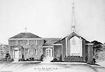 Penn Hills PA:  Studio work of the architectural rendering of the new Penn Hills Baptist Church on Hulton Road in Verona - 1957
