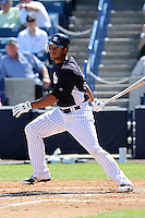 New York Yankees outfielder Zoilo Almonte #83 at bat during a scrimmage against the USF Bulls at Steinbrenner Field on March 2, 2012 in Tampa, Florida.  New York defeated South Florida 11-0.  (Mike Janes/Four Seam Images)