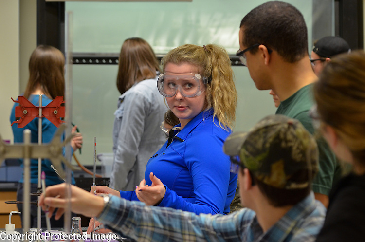 St. Norbert College students work together in freshman and sophomore chemistry lab led by Dr. Kari Cunningham on April 9, 2015.