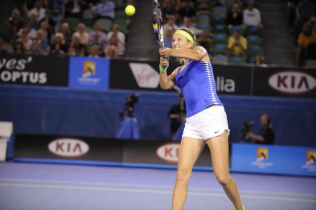 Victoria Azarenka of Belarus takes on Casey Dellacqua of Australia on day three of the Australian Open tournament on January 18, 2012..Ben Solomon/ESPN