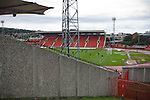 Home players warming up at the Gateshead International Stadium, the athletics stadium which is also the home ground of Gateshead FC, pictured on the day the club played host to Cambridge United in a Blue Square Bet Premier division fixture. The match ended in a one-all draw, watched by a crowd of 904. The point meant Gateshead went to the top of the division, one below the Football League in England.