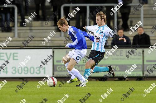 2012-04-07 / Voetbal / seizoen 2011-2012 / Verbroedering Geel-Meerhout - Olympia Sc. Wijgmaal / David Vandecauter (VGM) in achtervolging op Nicolas De Mol..Foto: Mpics.be