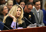 Nevada Assemblywoman Michele Fiore, R-Las Vegas, testifies in committee at the Legislative Building in Carson City, Nev., on Thursday, March 5, 2015. <br /> Photo by Cathleen Allison