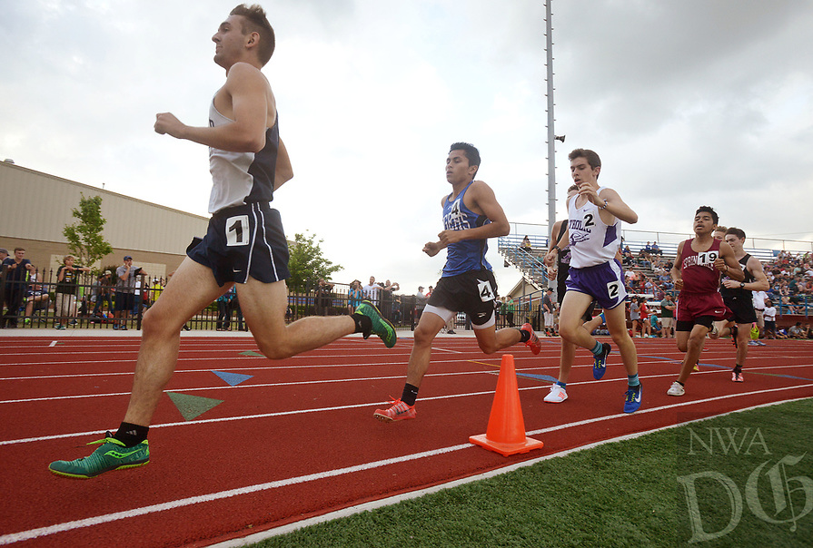 NWA Democrat-Gazette/BEN GOFF @NWABENGOFF<br /> Joseph Wittig (1) of Greenwood leads followed by Jessie Ramirez (4) of Rogers and Eli Johnson of Little Rock Catholic during the boys 1600 meter run Thursday, April 20, 2017, during the McDonald Relays at Fort Smith Southside. Ramirez won with a time of 4:24.98 minutes.