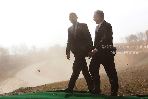 Springfield, VA - February 11, 2009 -- United States President Barack Obama walks with Virginia Governor Tim Kaine, after making a speech on the Construction site of Fairfax County Parkway connector ,  Springfield , VA, Wednesday, February 11, 2009..Credit: Aude Guerrucci - Pool via CNP