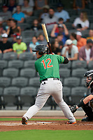 Down East Wood Ducks Yohel Pozo (12) at bat during a Carolina League game against the Fayetteville Woodpeckers on August 13, 2019 at SEGRA Stadium in Fayetteville, North Carolina.  Fayetteville defeated Down East 5-3.  (Mike Janes/Four Seam Images)