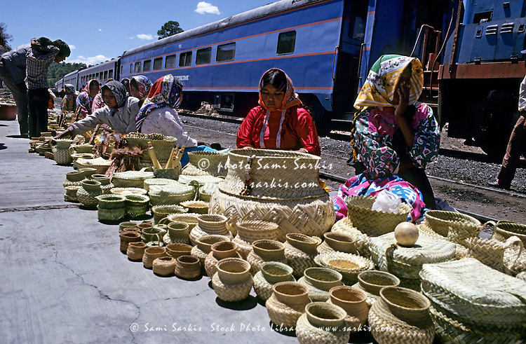 Tarahumaran women selling handcrafts at the railway station in Divisadero, Chihuahua, Mexico.