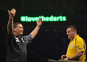 21.05.2015. London, England. Betway Premier League Darts Play-Offs.   Gary Anderson [SCO] celebrates his [10-9] win over Dave Chisnall [ENG]
