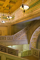 Chicago, Illinois<br /> The grand Staircase leading to Preston Bradley Hall in the Chicago Cultural Center (1897) featuring the world's largest Tiffany stained-glass dome