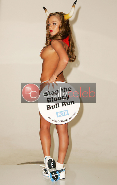 """Imogen Bailey<br />Poses for PETA's ad protesting the """"Running of the Bulls"""" in Pamplona. Sebree Studio, Hollywood, CA. 09-08-05<br />Dave Edwards/DailyCeleb.Com 818-249-4998"""