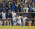 Royals team group,<br /> OCTOBER 5, 2014 - MLB :<br /> Wade Davis, Johnny Giavotella, Norichika Aoki and Erik Kratz of the Kansas City Royals celebrate winning the American League Division Series (ALDS) Game 3 against the Los Angeles Angels at Kauffman Stadium in Kansas City, Missouri, United States. (Photo by AFLO)
