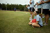 Erin Gartner reacts to an out against her team 2 Legit 2 Kick during a kick ball match at Pullen Park in Raleigh, Tues., Aug. 12, 2008.