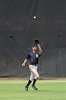 GCL Yankees 1 outfielder Dominic Jose (93) tracks down a fly ball during the second game of a doubleheader against the GCL Braves on July 1, 2014 at the Yankees Minor League Complex in Tampa, Florida.  GCL Braves defeated the GCL Yankees 1 by a score of 3-1.  (Mike Janes/Four Seam Images)