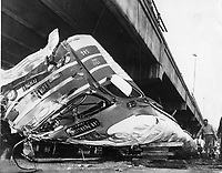 Greyhound bus plunged off Bay Bridge Maze killing seven people. (1975 photo)