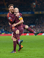 Lionel Messi of FC Barcelona celebrates his equaliser for Barcelona with Andres Iniesta.  UEFA Champions League round of 16, Chelsea versus FC Barcelona, Stamford Bridge, London, UK,  20th February 2018.