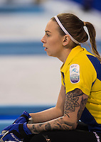 Glasgow. SCOTLAND.  Sweden's Sofia MABERGS, tracking the path of the &quot;Stone, during the &quot;Round Robin&quot; Games. Le Gruy&egrave;re European Curling Championships. 2016 Venue, Braehead  Scotland<br /> Monday  21/11/2016<br /> <br /> [Mandatory Credit; Peter Spurrier/Intersport-images]
