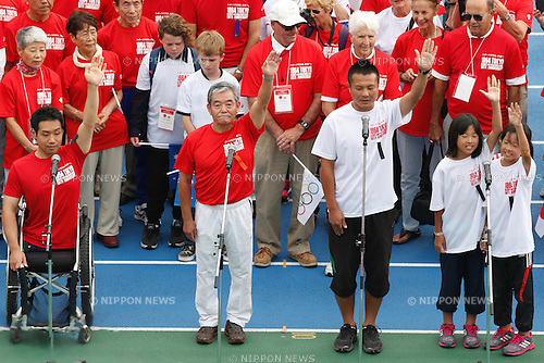 (L to R) Takeshi Suzuki, Takuji Hayata, OCTOBER 11, 2014 : Memorial event of 1964 Tokyo Olympic and Paralympic 50 years memorial week is held at Komazawa athletics stadium, Tokyo, Japan. (Photo by AFLO SPORT) [1180]