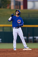 AZL Cubs 1 Carlos Pacheco (29) celebrates after hitting a double during an Arizona League game against the AZL Athletics Gold at Sloan Park on June 20, 2019 in Mesa, Arizona. AZL Athletics Gold defeated AZL Cubs 1 21-3. (Zachary Lucy/Four Seam Images)