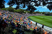 A general view of the embankment during the One Day International cricket match between the NZ Black Caps and Pakistan at the Basin Reserve in Wellington, New Zealand on Saturday, 6 January 2018. Photo: Dave Lintott / lintottphoto.co.nz