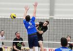 2018-02-17 / Volleybal / Seizoen 2017-2018 / Noorderkempen - Genk / Wim Deville (Noorderkempen) in de aanval tegen Dries Ilsbroux<br /> <br /> ,Foto: Mpics.be