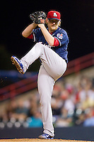 New Hampshire Fisher Cats starting pitcher Austin Bibens-Dirkx (13) in action against the Richmond Flying Squirrels at The Diamond on June 13, 2014 in Richmond, Virginia.  The Fisher Cats defeated the Flying Squirrels 6-3.  (Brian Westerholt/Four Seam Images)