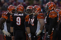 14 November 2004:  Carson Palmer (9) and the Bengals offensive linemen including Willie Anderson (71) and Rich Braham (74).<br />